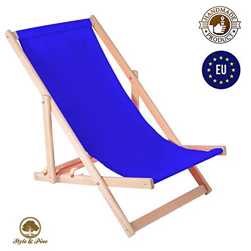Amazinggirl Liegestuhl klappbar aus Holz Liege - Relaxliege für Garten Balkon Gartenliege Strandstuhl Kornblau