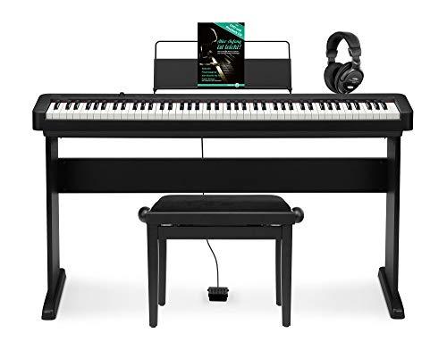 Casio CDP-S100 BK E-Piano Set (kompaktes 88-Tasten Comapct Piano mit Lautsprecher, USB & MIDI inkl. Pianobank, Unterbau, Kopfhörer & Klavierschule mit CD & DVD) Schwarz