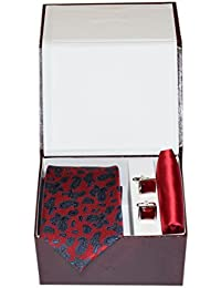 Navaksha Maroon Paisley Design Micro Fiber Necktie,Pocket Square and Cufflinks Gift Set for Men
