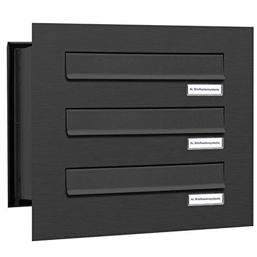 AL Briefkastensysteme 3er Briefkasten Mauerdurchwurf in Anthrazitgrau RAL 7016, 3 Fach DIN A4, wetterfeste Premium Briefkastenanlage Postkasten