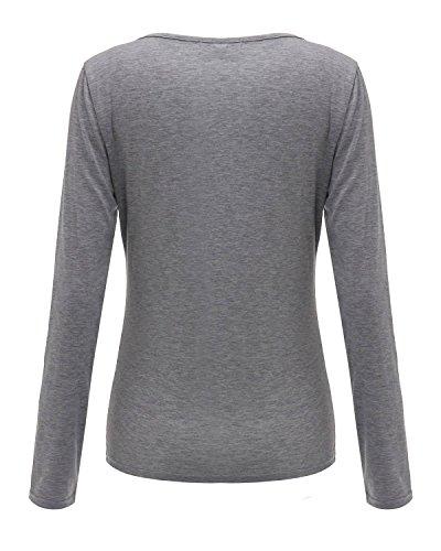 ZANZEA Femmes Sexy Col V Bandage Blouse Manches Longues Casual Slim Fit T-Shirt Hauts Tops Eté Tee Gris
