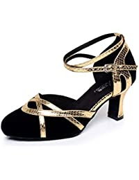 JSHOE Zapatos De Baile Para Mujeres Latinos / Chacha / Samba / Moderno / Jazz Dance Shoes,Gold-heeled7cm-UK4.5...