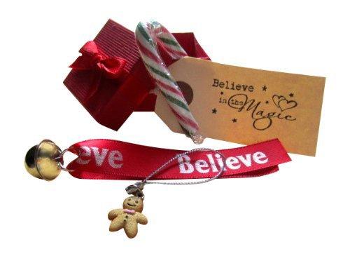 ShoreThing Weihnachtsdekoration im britischen Stil, Schriftzug in englischer Sprache, Schlitten im Polar-Express-Stil, Glöckchen, für Kinder