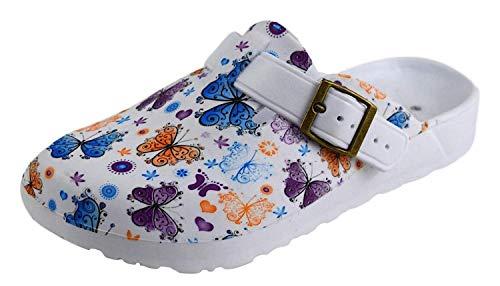 Damen Clogs weiß Bunte Blumen Muster (36 EU, Schmetterlinge Orange/Lila/Blau)