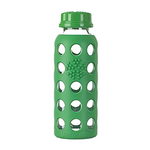 Lifefactory Bottle with Flat Cap, Glass, Green, 9