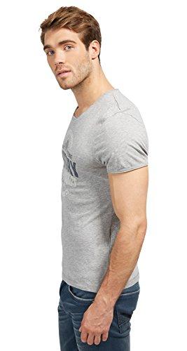 TOM TAILOR Herren T-Shirt with Round Print middle grey melange