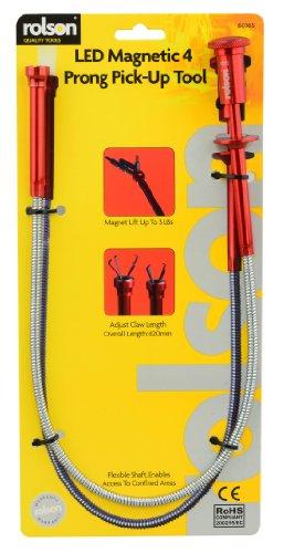 Rolson - Asta magnetica prenditutto, flessibile, con luce a LED e artiglio regolabile integrato nell'estremità