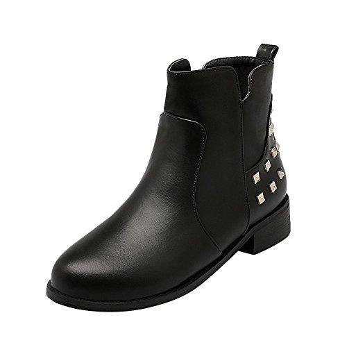 Mee Shoes Damen chunky heels Nieten kurzschaft Reißverschluss Ankle Boots Schwarz
