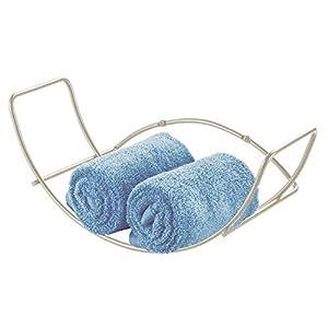 mDesign Toallero de pared para baño – Balda para baño de metal – Estantería metálica de fácil colocación – Ideal para…