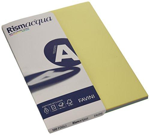 Favini carta colorata rismacqua a4-90 g/mq - assortiti 5 colori - a69x124 (risma100)