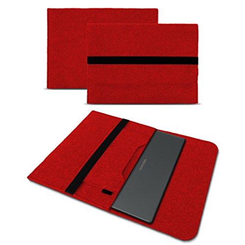 UC-Express Sleeve Hülle für Medion Akoya S3409 E4254 S4219 E3216 E3215 E3223 E4253 13-14 Zoll Tasche Filz Notebook Cover Etui Case, Farbe:Rot