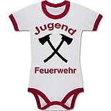 Shirtracer Feuerwehr Baby - Jugend Feuerwehr - 3-6 Monate - Weiß/Rot - BZ19 - Zweifarbiger Baby Strampler für Jungen und Mädchen