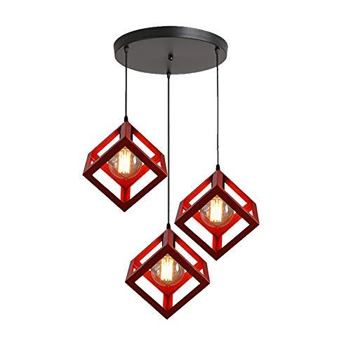 STOEX Suspension Industrielle Cage Carré Contemporain, E27 Lampe Plafonnier Lustre Abat-jour Corde Ajustable Luminaire pour Salon,Cuisine, Salle à manger, bar Rouge