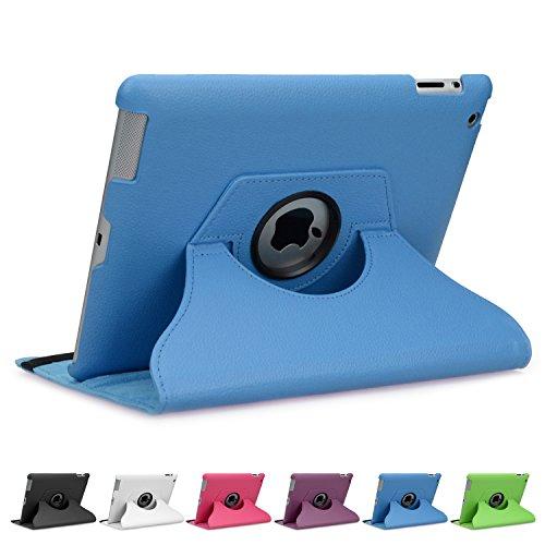 doupi Deluxe Schutzhülle iPad 2 3 4, Smart Case Sleep/Wake Funktion 360 Grad drehbar Schutz Hülle Ständer Cover Tasche, blau