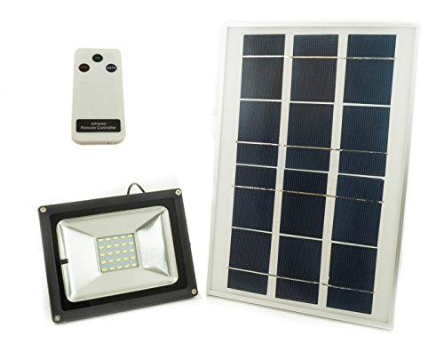 JD Projecteur à LED SMD 10 W, avec panneau solaire, détecteur crépusculaire et télécommande