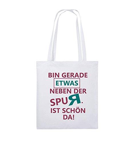 Comedy Bags - Bin gerade etwas neben der Spur. Ist schön da! - Jutebeutel - lange Henkel - 38x42cm - Farbe: Schwarz / Weiss-Neongrün Weiss / Fuchsia-Türkis