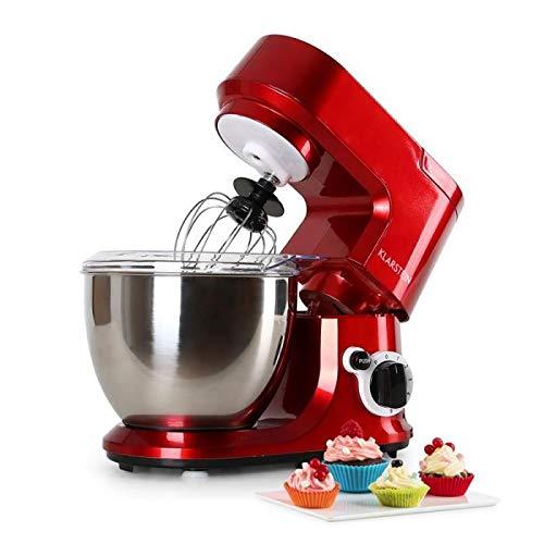 Klarstein Carina Rossa Red Edition - Robot de cuisine, mélangeur, pétrin, 800 W, 4L, mélangeur planétaire, 6 vitesses, bol en acier inoxydable, protection anti-éclaboussures, rouge