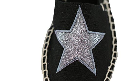 Espadrilles Femme - Chaussures fille /ballerines d´été en vogue - ÉTOILE imprimée - Coloris: Blanc, noir et beige - Pointures: 36-41 de Brandsseller Noir