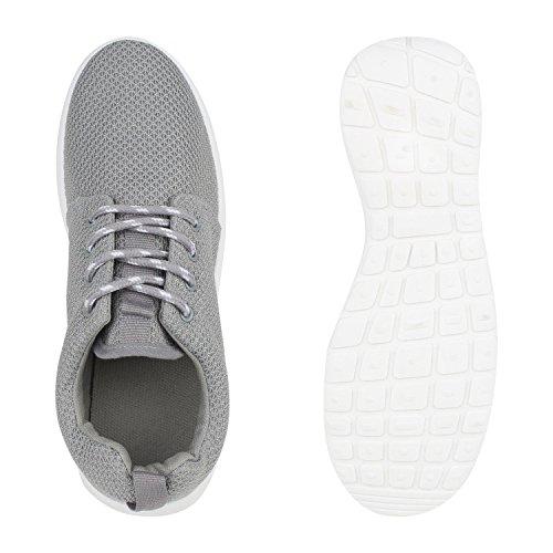 Damen Herren Sneaker Sportschuhe schwarz Turnschuhe Runners mit Blumen Print in mehreren Farben Grau Weiss