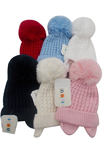 Babymütze Wintermütze Bommelmütze in Blau, Rot, Weiß, Marineblau, Beige und Pink