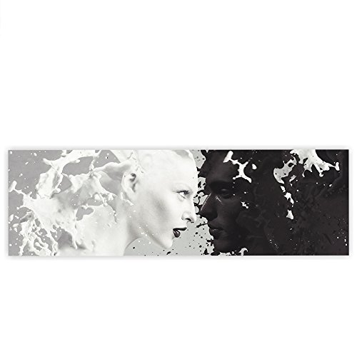 Strukturierte Leinwand Kunst (Leinwandbild 145x45 cm PREMIUM Leinwand Bild - Wandbild Kunstdruck Wanddeko Wand Canvas - MILK AND COFFEE IN LOVE - Pärchen Kaffee Milch Akt Erotik Ornament Tribal - no. 016)