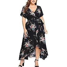 90ba5be27585 LOVELYOU Vestiti Donna Eleganti Estivi Taglie Forti Manica Corta Abito  Irregolare con Stampa Fiori A V Danza