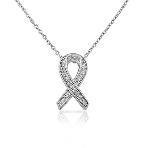 925 Sterling Silver Womens Small CZ Breast Cancer Awareness Ribbon Pendant Necklace