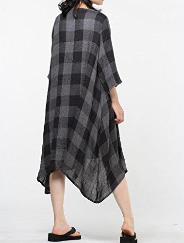 MatchLife Femme Manches Longues Ourlet Irrégulier Plaid Coton Manteau Cropped L Noir