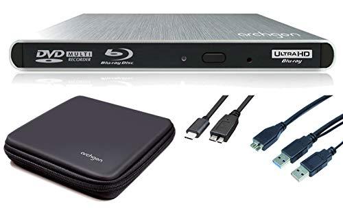 Archgon Externer 4K-UHD Player Blu-ray Brenner USB 3.0 USB-C BDXL Style, Tray Load disc Drive Hitachi-LG BU40N UHD Blue-ray, Alu Silber Schutzbox - kompatibel mit PC und Mac MacBook Pro, Air, iMac