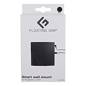 FLOATING GRIP® PS3 Slim, PlayStation 3 Slim, vertical rope wall mount (Black), Patent pending and p