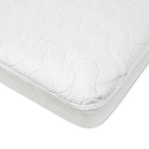 TL Care Waterproof Fitted Crib and Toddler Protective Mattress Pad Cover, White
