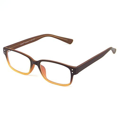 Cyxus Blau Licht Filtering Brille Rechnerbrillen Gegen Augenbelastung Besser Schlafen [Klare Linsen] (Brillen ohne Grad) (Farbverlauf Orange Rahmen)