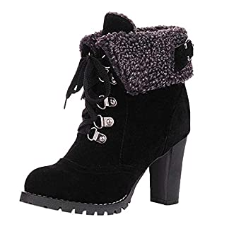 BaZhaHei Women Lace-Up Shoes High Thick Short Boots Leisure Ankle Boots High-Heel Boots Sexy Partywear Round Toe Fleeces Boots Winter Short Platform Boots 8