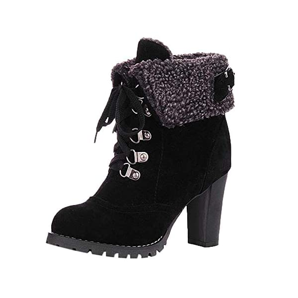 23b0e74c7ce BaZhaHei Women Lace-Up Shoes High Thick Short Boots Leisure Ankle Boots  High-Heel Boots Sexy Partywear Round Toe Fleeces Boots Winter Short  Platform ...