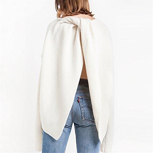 Sexy Twist Twisted Avec nœud Avec nœudted Fendue Fendu Fentes Dos Dégagé Sweater Chandail Pull Jumper Haut Top Blanc