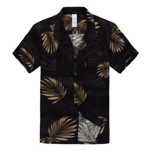 Hombres Aloha Camisa Hawaiana en Negro con Hoja de Palma Dorada