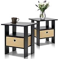 Furinno 2–11157ex Extrémité Table Chambre à Coucher Support de Nuit, Petite, Espresso, Lot de 2
