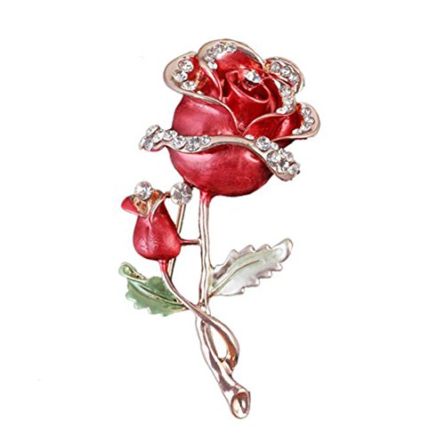 Hosaire 1X Fashion Personality Flowers Roses Women's Brooch Pin Rhinestone Covered Scarves Shawl Clip For Women Ladies(Red)
