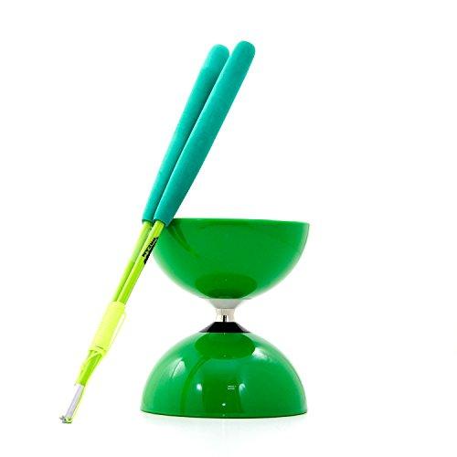 Unbekannt Juggle Dream Big Top (Achse Kugellager Diabolo & Paar Superglass Profi Diabolo Handstäbe (grün)