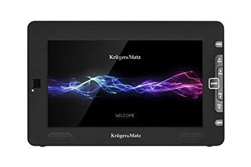 Krüger&Matz KM0196 Tragbarer Fernseher Portabler hochauflösender LCD mit DVB-T Digital Recorder für Aufnahmen (PVR-Ready) Multimediaplayer via USB, HDMI, Akku oder Netzbetrieb schwarz