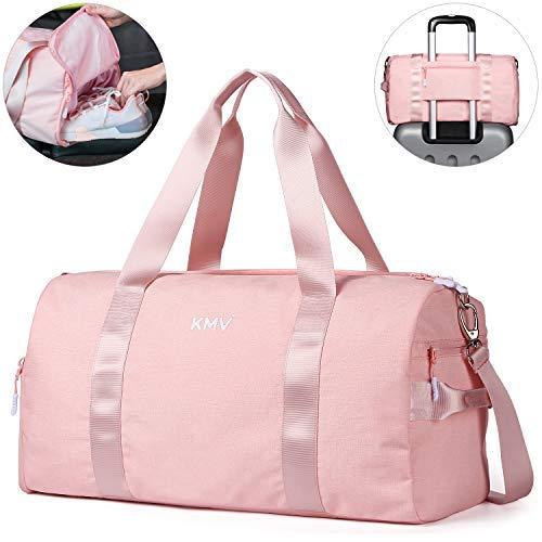 CoCoCoMall Turnbeutel mit Schuhfach und Nasstasche, Sporttasche für Damen und Herren, Reisetasche mit Schultergurt, Rose