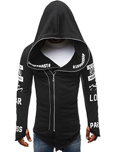 OZONEE Herren Sportjacke Sweatshirt Assanin's Hoodie Sweatjacke Kapuzenpullover J. STYLE 2036 SCHWARZ M