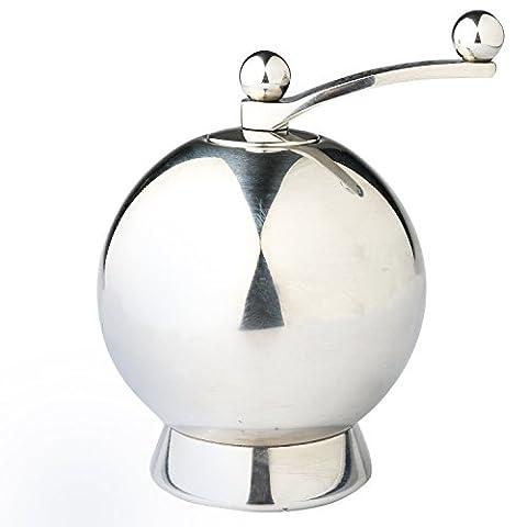 annyfa Moulin à sel et poivre avec précision Gourmet Moulin à poivre et sel Moulin à poivre Noir à condiments bouteilles–en acier inoxydable, forme ronde, fond Collector incluse, Acier inoxydable, Silver, Taille M