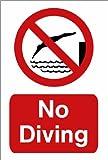 """Warnschild für Schwimmbäder, """"Nicht Hineinspringen"""" (in englischer Sprache), A4"""