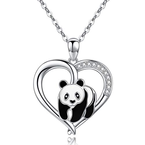 Collana da donna gioielli donna con pendente regalo donna in sterling argento 925 45+5cm (collana panda)