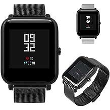 Correa para Xiaomi Amazfit Bip Youth Watch LANSKIRT Banda de Reloj Pulsera de Acero Inoxidable milanesa