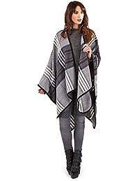 Womens Patterned Blanket Cape Boutique Ladies Zig Zag Shawl Tassel Poncho Wrap