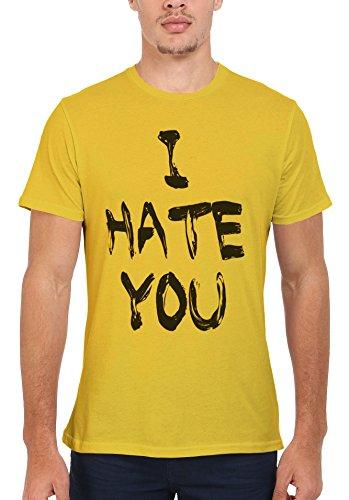 I Hate You Cool Funny Hipster Swag Men Women Damen Herren Unisex Top T Shirt Licht Gelb
