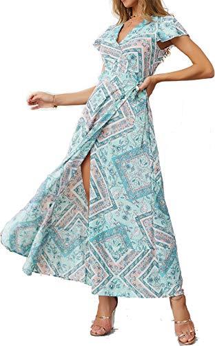 Mujeres Sexy Cuello En V Vestidos Bohemio Wrap Floral Impreso Vintage Estilo étnico de Alta Split Beach Maxi Vestido