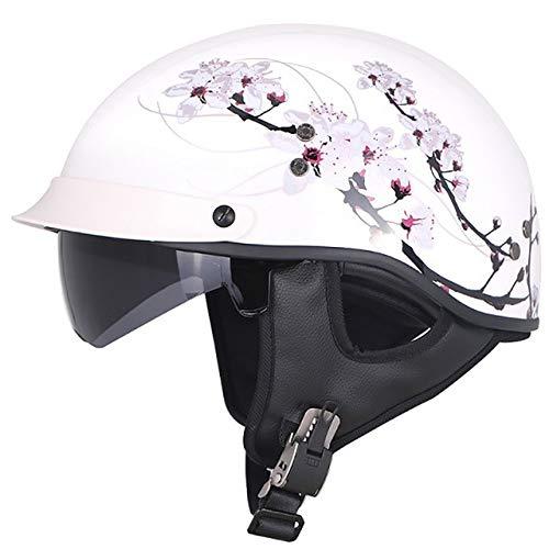 Motorradhelm Half Face Fiberglas Moto Retro Innenvisier Chopper Helme, Weiß Mit Blumen-1,2XL
